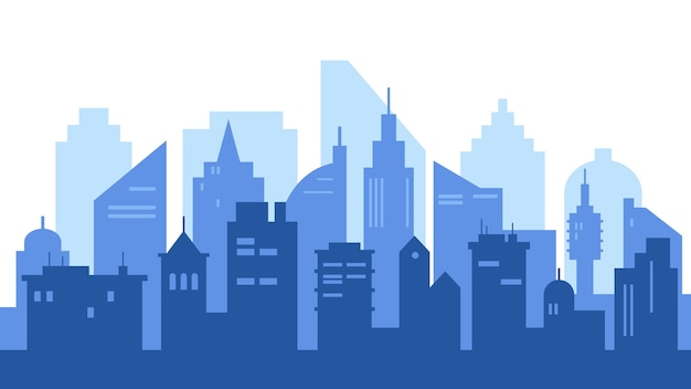 Stadsgezicht met grote moderne gebouwen. silhouet van moderne stad met wolkenkrabbers.
