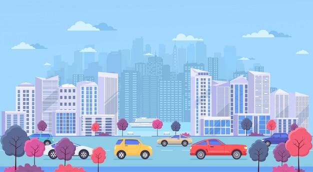 Stadsgezicht met grote moderne gebouwen, stadsvervoer, verkeer op straat, park met kleurbomen en rivier. snelweg met auto's op blauwe achtergrond.