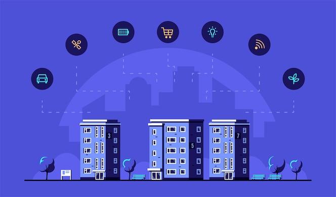 Stadsgezicht met moderne woonhuizen en pictogrammen.
