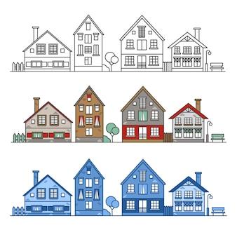 Stadsgezicht met verschillende rij europese huizen overzicht en gekleurde afbeelding oude gebouwen