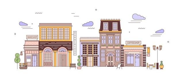 Stadsgezicht met wijk van prachtige elegante woongebouwen van europese architectuur. stedelijk landschap met woonhuizen, bakeshop, coffeeshop. kleurrijke vectorillustratie in lijn kunststijl.