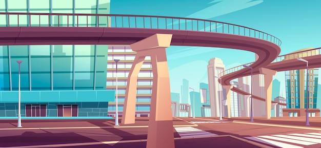 Stadsgezicht met wolkenkrabbers en viaduct snelweg