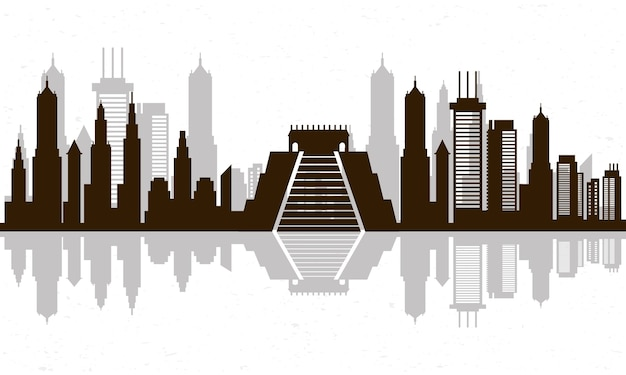 Stadsgezicht mexico skyline scène icoon