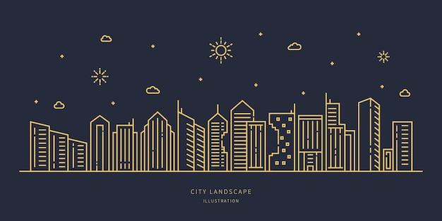 Stadsgezicht moderne platte lijn landschap vector