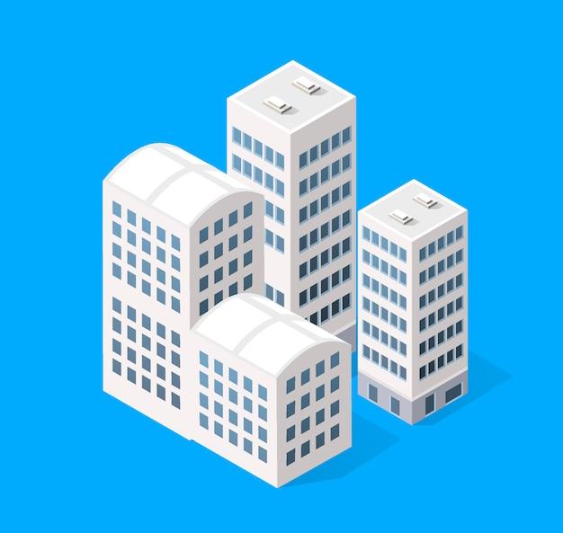 Stadsgezicht ontwerpelementen met isometrisch gebouw