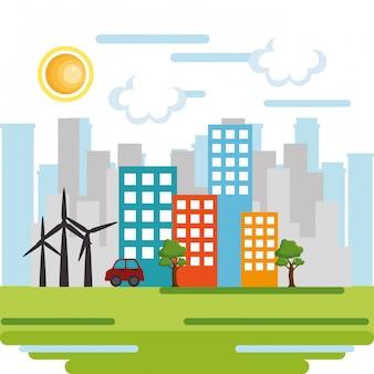 Stadsgezicht scène milieuvriendelijk