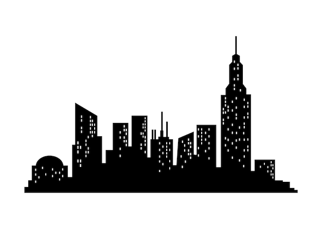 Stadsgezicht silhouet. stadsgebouw, nachtstad en horizontaal stedelijk panoramasilhouet