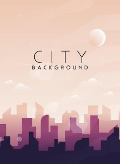 Stadsgezicht stad architectuur silhouet centrum vector achtergrond plat ontwerp