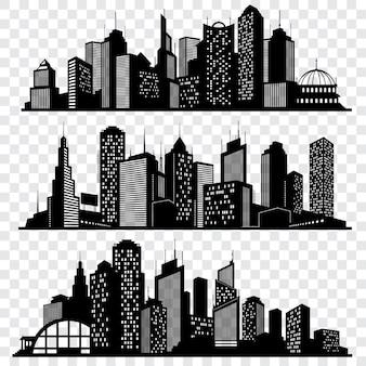 Stadsgezichten, de gebouwen van de stadshorizon, de grote vectorreeks van stadssilhouetten