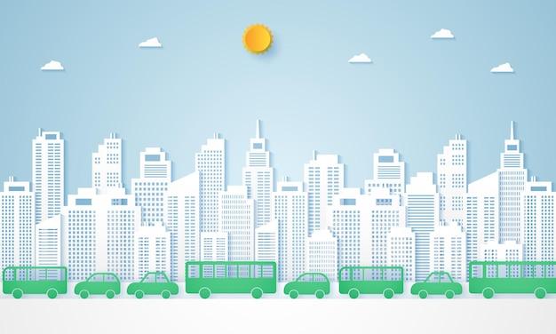 Stadsgezichten en landschap van panoramisch gebouw met transport in papieren kunststijl