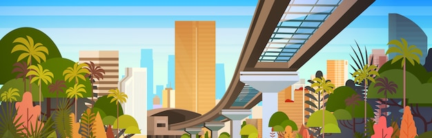 Stadshorizon met moderne wolkenkrabbers en horizon van de spoorwegweg bekijk horizontale illustratie