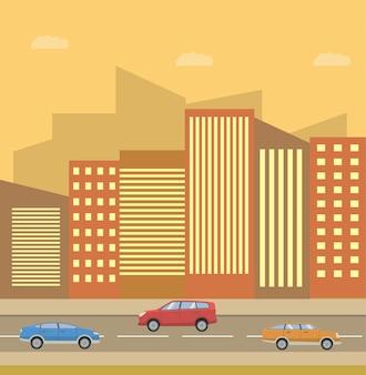 Stadshorizongevels van huizen en straat met auto's