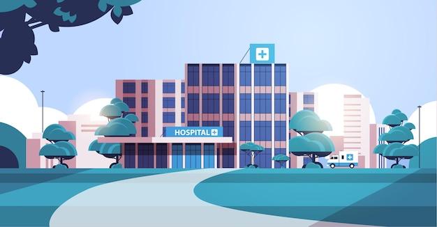 Stadsillustratie met gevel van ziekenhuisgebouw
