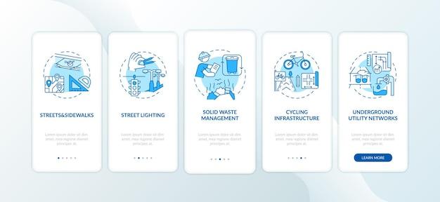 Stadsinfrastructuur blauw onboarding mobiel app-paginascherm met concepten
