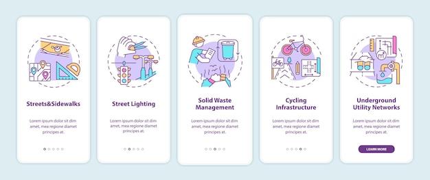 Stadsinfrastructuur onboarding mobiele app-paginascherm met conceptillustraties