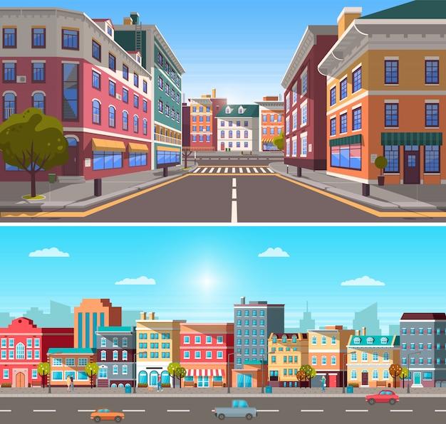 Stadsinfrastructuur, straat met gebouwen en auto
