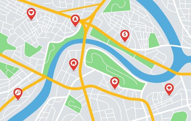 Stadskaart gps-navigatie met locatiepinmarkeringen stedelijke binnenstad wegen parken rivier vectorafbeelding