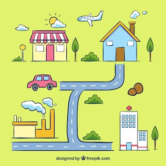 Stadskaart illustratio met transportmiddelen
