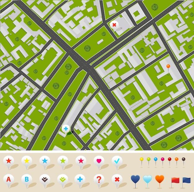 Stadskaart met gps-pictogrammen, illustratie