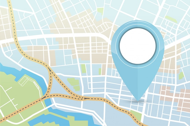 Stadskaart met locatorpictogram in blauwe kleur