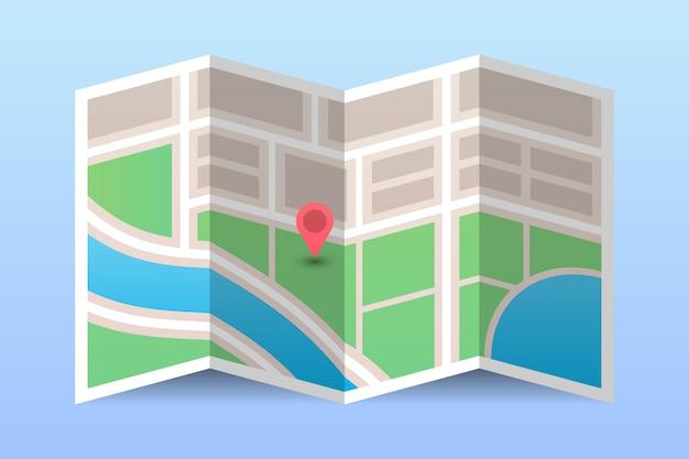 Stadskaart met navigatiepin