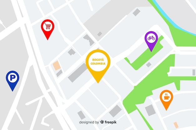 Stadskaart met navigatiepunten