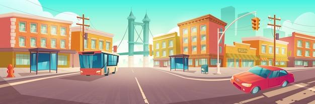 Stadskruispunt met bus en auto op kruising