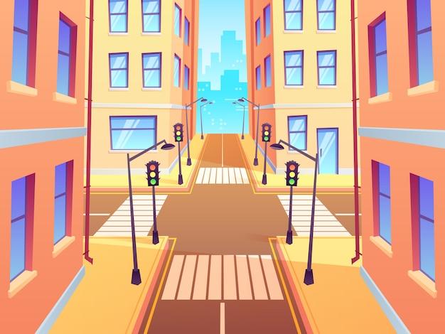 Stadskruispunt met zebrapad. stedelijke kruispuntverkeerslichten, het kruispunt van de stadsstraat en de illustratie van het kruispuntbeeldverhaal