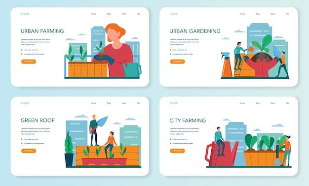 Stadslandbouw of tuinieren webbanner of bestemmingspagina-set. stadslandbouw. mensen die de spruit op het dak of balkon planten en water geven. natuurlijk biologisch voedsel.