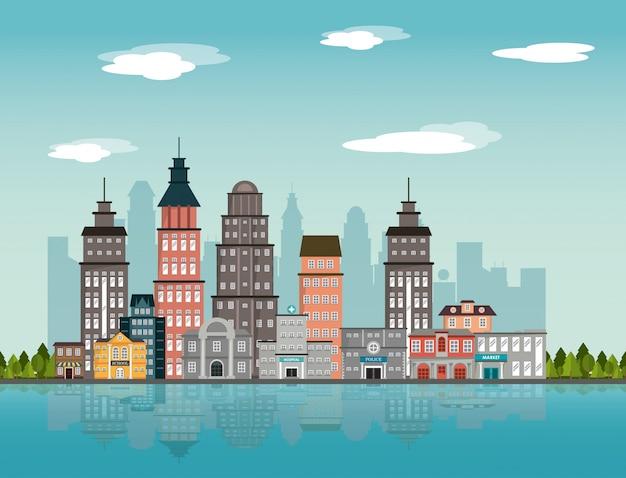 Stadslandschap die de rivierontwerp van de rivier van de binnenstad bouwen