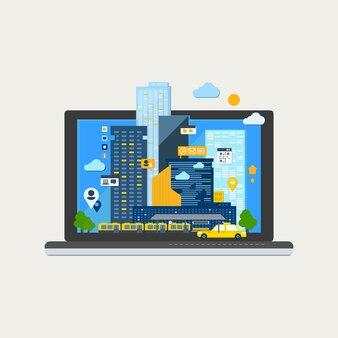 Stadslandschap in laptop.