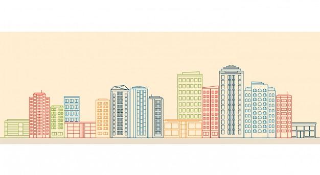 Stadslandschap met gebouwen en winkels in lijnstijl.