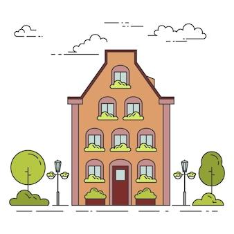 Stadslandschap met huis
