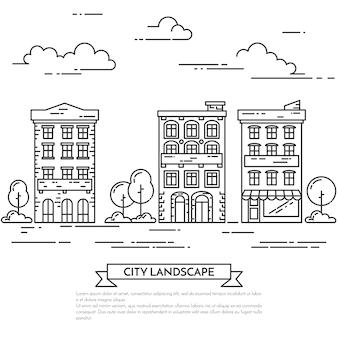 Stadslandschap met huizen, bomen en wolken.