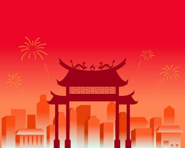 Stadslandschap op chinees nieuwjaarviering