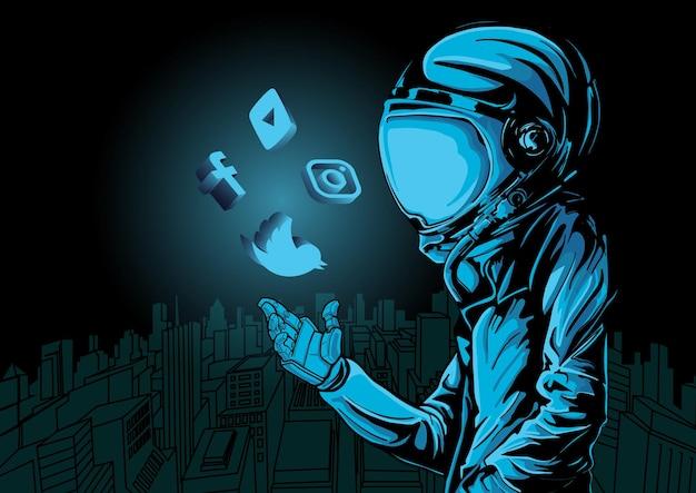 Stadslandschap van sociale media