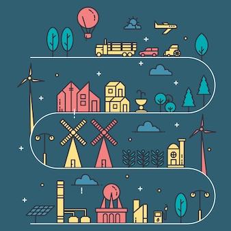 Stadsleven illustratie met dunne lijnstijl