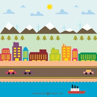 Stadsleven kleurrijke grafische