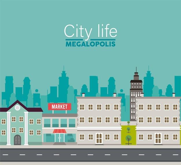 Stadsleven megalopolis belettering in stadsgezicht scène met markt en gebouwen illustratie