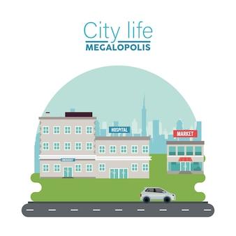 Stadsleven megalopolis belettering in stadsgezicht scène met ziekenhuis en markt illustratie