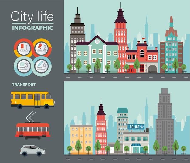 Stadsleven megalopolis belettering in stadsgezichten scènes en voertuigen illustratie