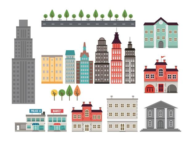 Stadsleven megalopolis instellen stedelijke pictogrammen illustratie