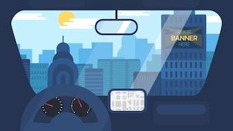 Stadsleven vanuit auto