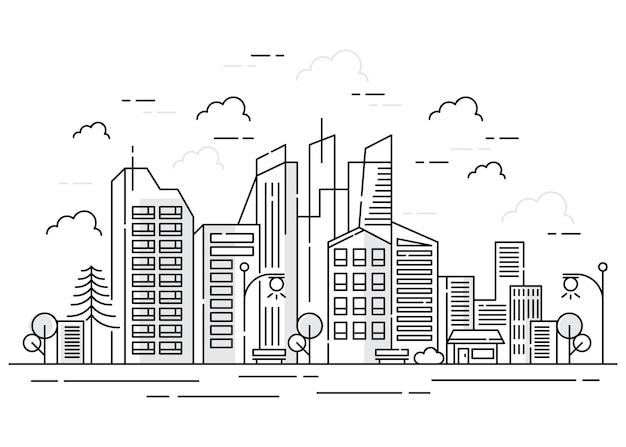 Stadslijn met gebouw in kaderstijl