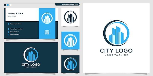 Stadslogo met cirkelstijl en ontwerpsjabloon voor visitekaartjes
