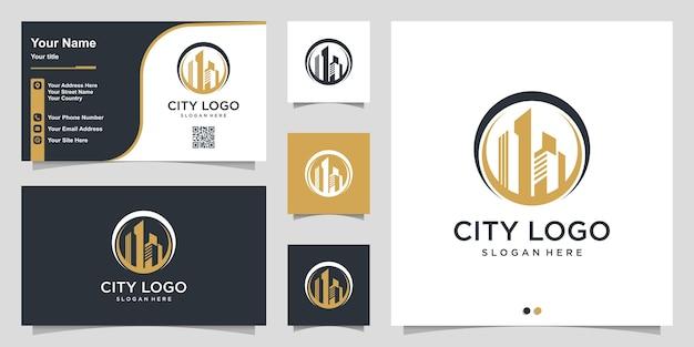 Stadslogo met modern cirkelconcept en ontwerpsjabloon voor visitekaartjes premium vector