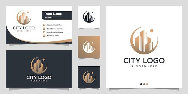 Stadslogo met modern cirkelconcept en visitekaartje