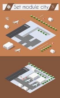 Stadsluchthaven met vervoer