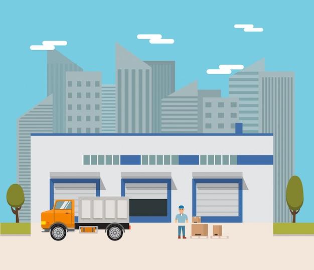 Stadsmagazijn met een vrachtwagen en een lader.