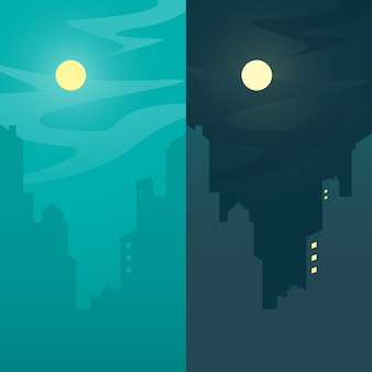 Stadsmening, dag en nacht stads achtergrondconcept, vectorillustratie.